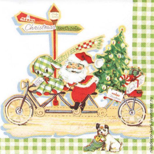 Декупаж и роспись ручной работы. Ярмарка Мастеров - ручная работа. Купить Дед Мороз на велосипеде (611344) 33х33 салфетка для декупажа. Handmade.