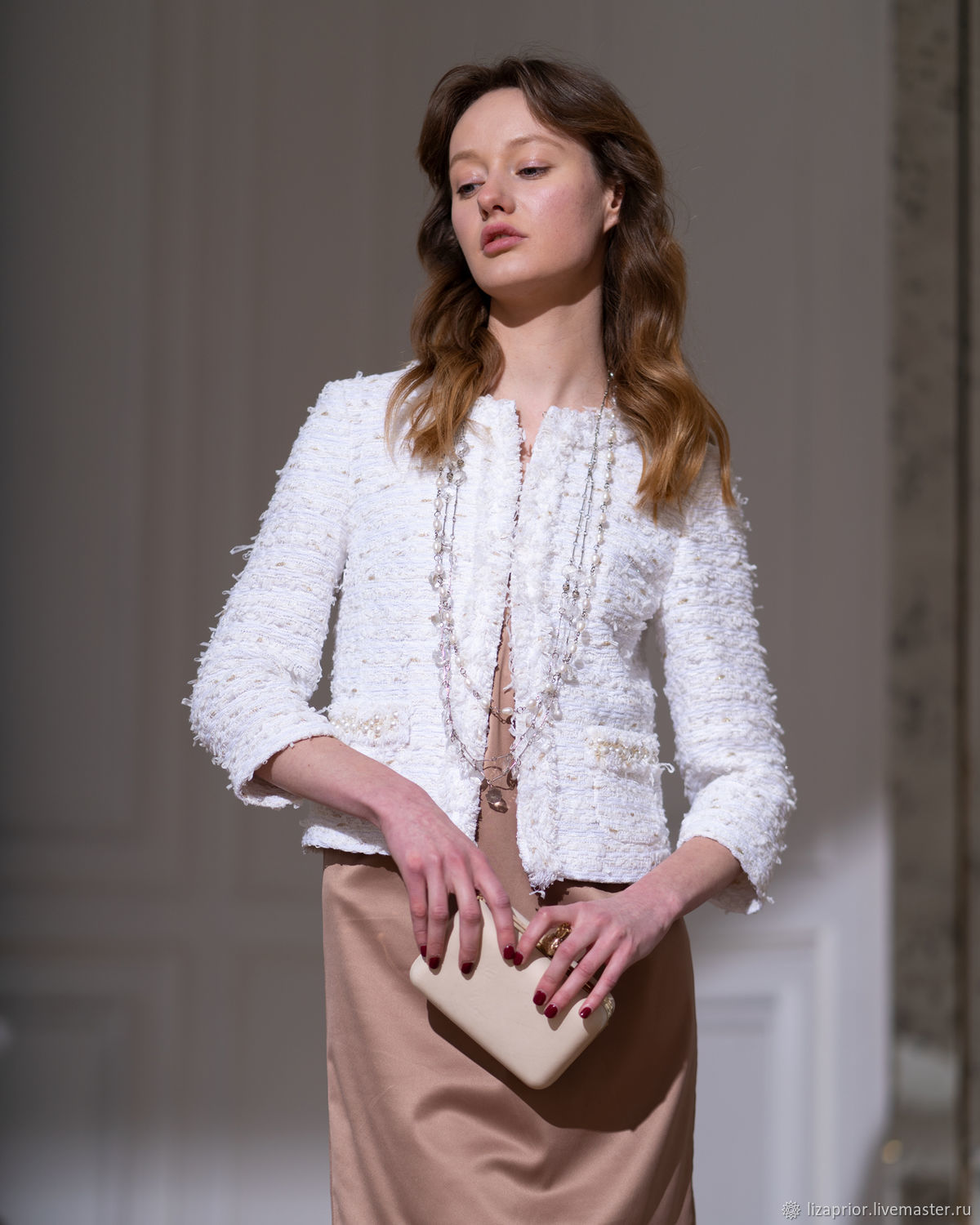 Chanel style jacket in white tweed with pearls, Jackets, Moscow,  Фото №1