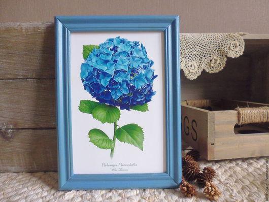"""Картины цветов ручной работы. Ярмарка Мастеров - ручная работа. Купить """"Ботаника. Гортензия"""" Панно в винтажном стиле. Handmade. Синий"""