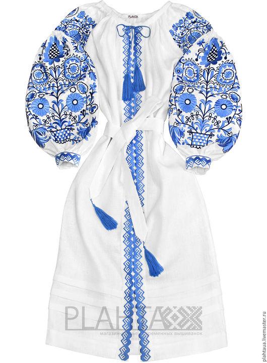 """Платья ручной работы. Ярмарка Мастеров - ручная работа. Купить Длинное льняное платье """"Зимние узоры"""". Handmade. Белый"""