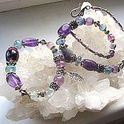 Украшения handmade. Livemaster - original item Necklace and bracelet made of fluorite ,rock crystal and amethyst.. Handmade.