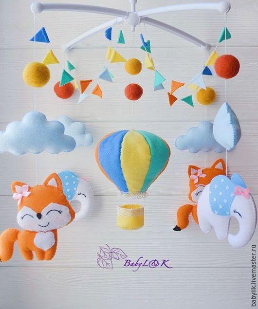 """Детская ручной работы. Ярмарка Мастеров - ручная работа. Купить Мобиль из фетра """"Оранжевый шар"""". Handmade. Мобиль, воздушный шар"""