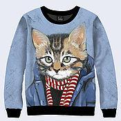 """Одежда ручной работы. Ярмарка Мастеров - ручная работа Свитшот """"Кот в шарфе"""". Handmade."""