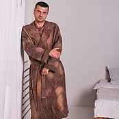 Одежда handmade. Livemaster - original item Bathrobe men milled Chocolate. Handmade.