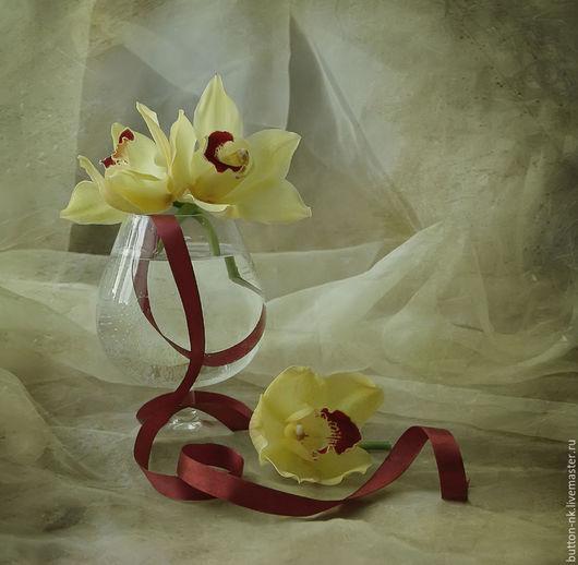 Фотокартины ручной работы. Ярмарка Мастеров - ручная работа. Купить Натюрморт Пируэт (Орхидея с лентой). Handmade. Лимонный, вишневый, бордовый