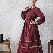 "Одежда handmade. Livemaster - original item Linen dress with lace ""Cherry day"". Handmade."