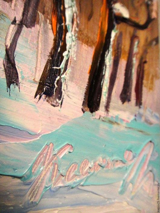 Пейзаж ручной работы. Ярмарка Мастеров - ручная работа. Купить Картина маслом Зимний пейзаж. Handmade. Белый, голубой цвет