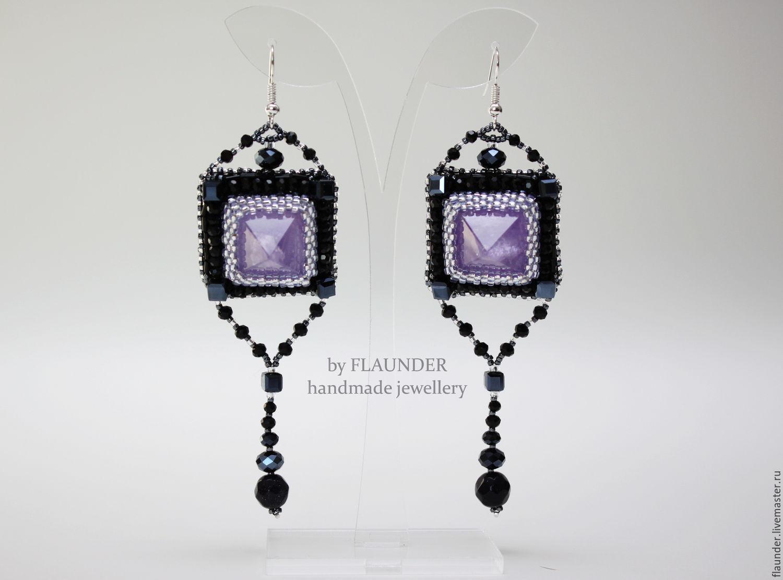 """Earrings with amethyst """"Black Queen"""" by FLAUNDER, Earrings, Odessa,  Фото №1"""