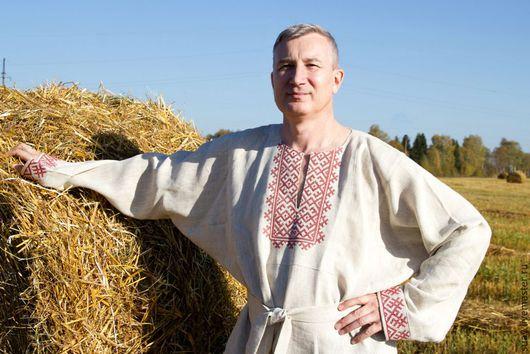 Этническая одежда ручной работы. Ярмарка Мастеров - ручная работа. Купить Народная рубаха. Handmade. Бежевый, Машинная вышивка