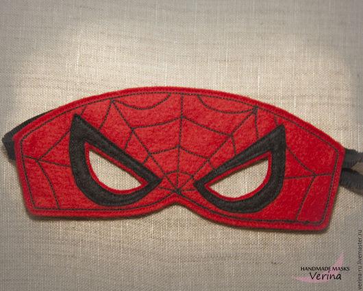 Игровые маски для детей и взрослых из фетра ручной работы. Маска спайдермена из фетра. Маски для вечеринки. Маски супер героев. человек-паук.