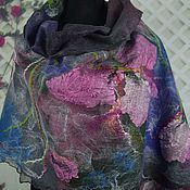 Аксессуары handmade. Livemaster - original item Tippet felted wool felted women scarf tippet Orchid. Handmade.