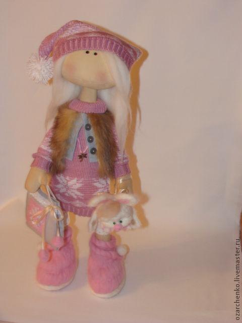 Коллекционные куклы ручной работы. Ярмарка Мастеров - ручная работа. Купить Зая и зайчонок. Handmade. Розовый, подарок на день рождения