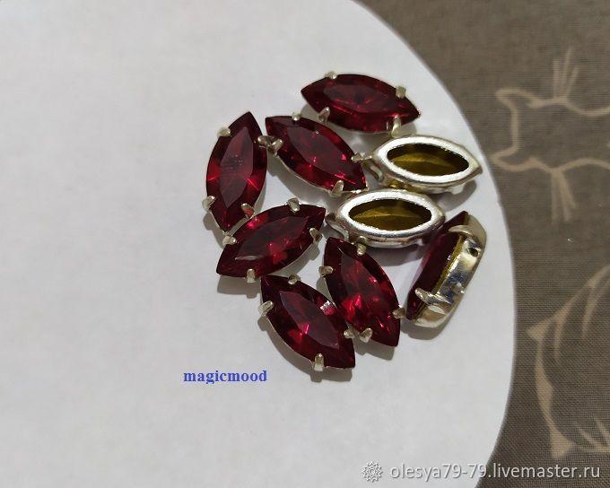 1 piece Czech rhinestone 15h7mm Siam Navette Czech crystals in DACs, Rhinestones, Chelyabinsk,  Фото №1
