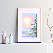Картины и панно handmade. Livemaster - original item Painting interior Landscape Winter morning Painting as a gift the Sun. Handmade.