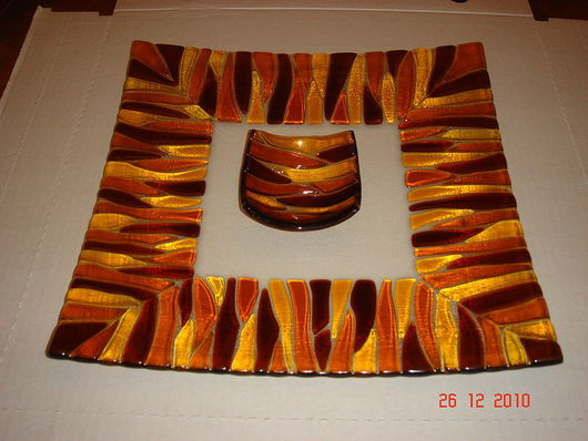 """Тарелки ручной работы. Ярмарка Мастеров - ручная работа. Купить Комплект для суши """" Тигровый"""". Handmade. Стекло, блюдо"""