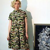 """Одежда ручной работы. Ярмарка Мастеров - ручная работа Платье-кюлот """"Озорные 60-е"""" камуфляж. Handmade."""