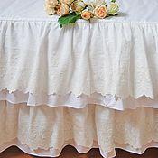 Для дома и интерьера ручной работы. Ярмарка Мастеров - ручная работа Подзор для кровати в стиле шебби шик с 2-ми оборками. Handmade.