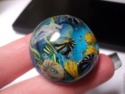 """Кольца ручной работы. Ярмарка Мастеров - ручная работа. Купить Кольцо """"Подводный мир"""" лэмпворк.. Handmade. Комбинированный, кольцо авторское"""