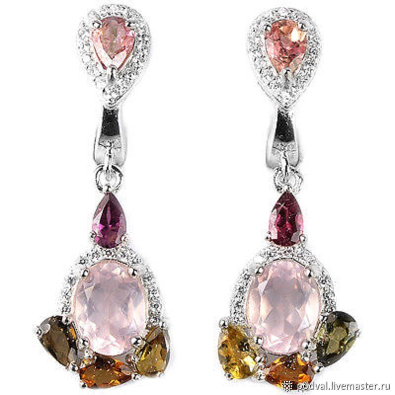 Earrings with natural tourmaline, quartz ' Venice', Earrings, Korolev,  Фото №1