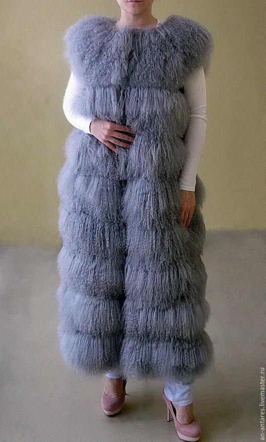 Жилеты ручной работы. Ярмарка Мастеров - ручная работа. Купить Длинный шикарный жилет из ламы. Handmade. Серый, пушистый жилет