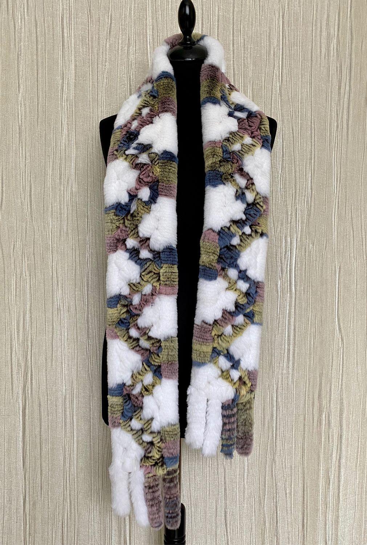 Chinchilla rabbit scarf ' Multicolor', Scarves, Moscow,  Фото №1