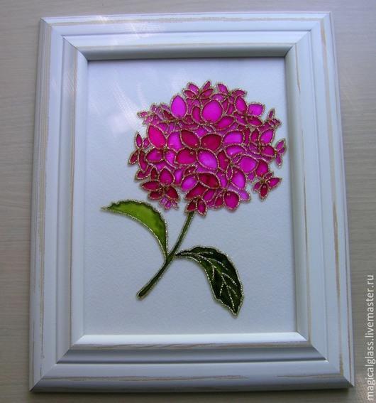 """Картины цветов ручной работы. Ярмарка Мастеров - ручная работа. Купить Картина на стекле """"Гортензия"""". Handmade. Разноцветный, весенние цветы"""