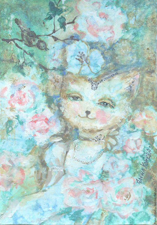 Картина миниатюра в стиле шебби шик Птичка в розах. Необычная кошечка и птичка среди роз. Романтичный сказочный сюжет. Сказка в теплоте рук Алены Коневой