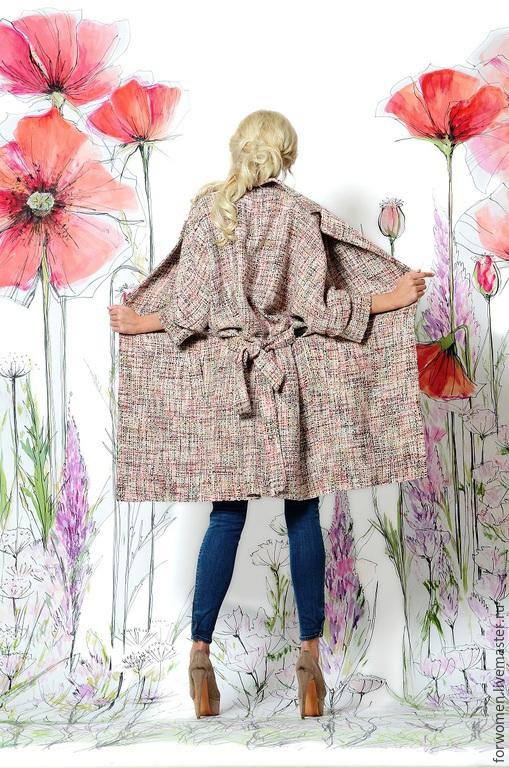 Верхняя одежда ручной работы. Ярмарка Мастеров - ручная работа. Купить Нежное пальто, розовая полоска. Handmade. Разноцветный, сиреневый