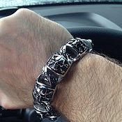 Украшения handmade. Livemaster - original item Men`s bracelet with steel skulls. Handmade.
