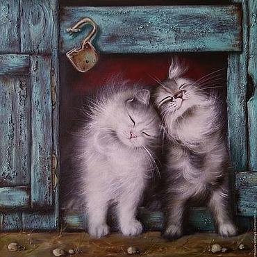 Картины и панно ручной работы. Ярмарка Мастеров - ручная работа Картина маслом с котиками Мои пушистые друзья. Handmade.