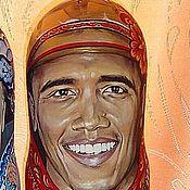 Русский стиль ручной работы. Ярмарка Мастеров - ручная работа Барак Обама портрет. Футляр под бутылку 0.7. Handmade.