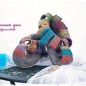"""Тапочки ручной работы. Ярмарка Мастеров - ручная работа Домашние туфли """"Игра"""". Handmade."""