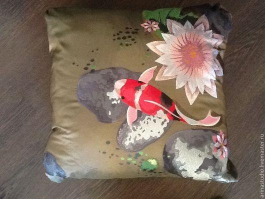 """Текстиль, ковры ручной работы. Ярмарка Мастеров - ручная работа. Купить Декоративная подушка """" Японский пруд""""  ВТ-06. Handmade."""