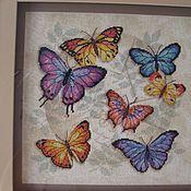 Картины и панно ручной работы. Ярмарка Мастеров - ручная работа Торжество бабочек. Вышивка крестом, оформлена в двойной багет. Handmade.
