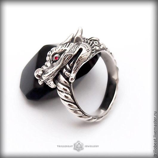 """Кольца ручной работы. Ярмарка Мастеров - ручная работа. Купить """"Дракон Уроборос"""", перстень ручной работы с рубином из серебра. Handmade."""