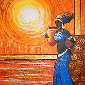 Картины и панно handmade. Livemaster - original item Picture of an African woman in blue.. Handmade.