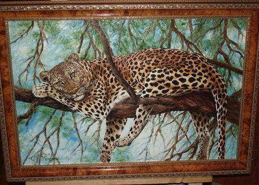 Животные ручной работы. Ярмарка Мастеров - ручная работа. Купить Картина маслом Леопард на дереве. Handmade. Картина маслом, Пятнистый