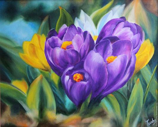 Картины цветов ручной работы. Ярмарка Мастеров - ручная работа. Купить Крокусы. Handmade. Крокусы, дачные цветы, масло