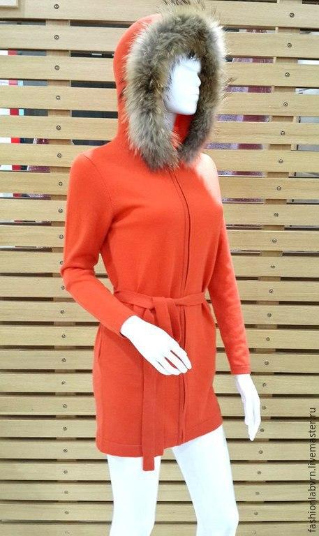Верхняя одежда ручной работы. Ярмарка Мастеров - ручная работа. Купить Пальто-кардиган женское из натурального кашемира с мехом. Handmade.
