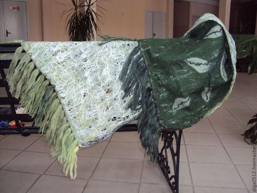 """Шали, палантины ручной работы. Ярмарка Мастеров - ручная работа. Купить Палантин валяный """"Зелёная нежность"""". Handmade. Зеленый"""
