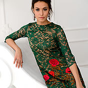 Одежда handmade. Livemaster - original item Dress green lace with embroidery. Handmade.