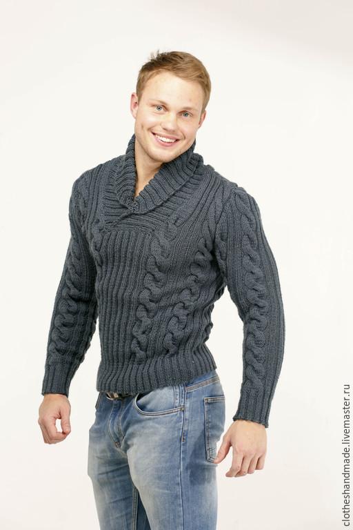 Для мужчин, ручной работы. Ярмарка Мастеров - ручная работа. Купить Мужской свитер с косами ( серый ). Handmade.