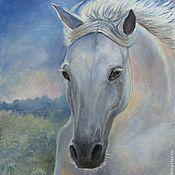"""Картины и панно ручной работы. Ярмарка Мастеров - ручная работа Картина маслом на холсте """"Белая лошадь"""". Handmade."""