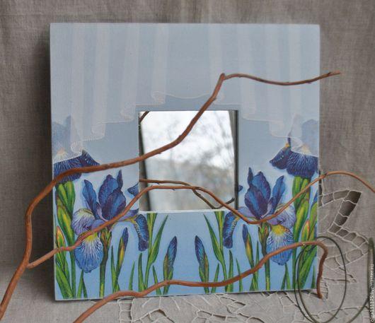 """Зеркала ручной работы. Ярмарка Мастеров - ручная работа. Купить Зеркало"""" Ирисы"""". Handmade. Зеркало, зеркало декупаж, настенное зеркало"""