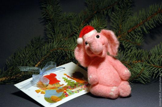 Игрушки животные, ручной работы. Ярмарка Мастеров - ручная работа. Купить Новогодний слоник. Handmade. Бледно-розовый, слон, слоник