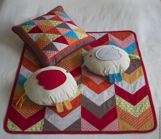 """Пледы и одеяла ручной работы. Ярмарка Мастеров - ручная работа. Купить Набор для малыша """"Птицы"""". Handmade. Одеяло детское, красный"""