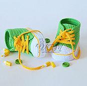 """Работы для детей, ручной работы. Ярмарка Мастеров - ручная работа Пинетки-кеды """"Яркое лето"""" зелёно-жёлтые. Handmade."""