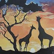 Картины и панно ручной работы. Ярмарка Мастеров - ручная работа Фреска Закат в Африке. Handmade.