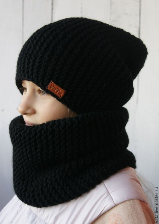 шапка и снуд крупной вязки, вязаный комплект ручной работы, шапка бини и снуд, вязаная шапка и снуд, вязаная шапка купить, шапка и снуд на зиму, шапка молодежная