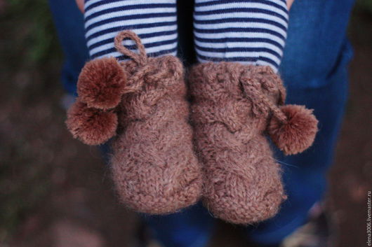 Для новорожденных, ручной работы. Ярмарка Мастеров - ручная работа. Купить пинетки - ботиночки из шерсти альпаки. Handmade. Однотонный, альпака